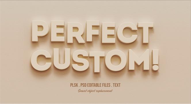 Mockup perfetto effetto testo personalizzato in 3d