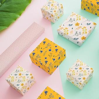 Mockup perspectivo de packaging con concepto de joyería