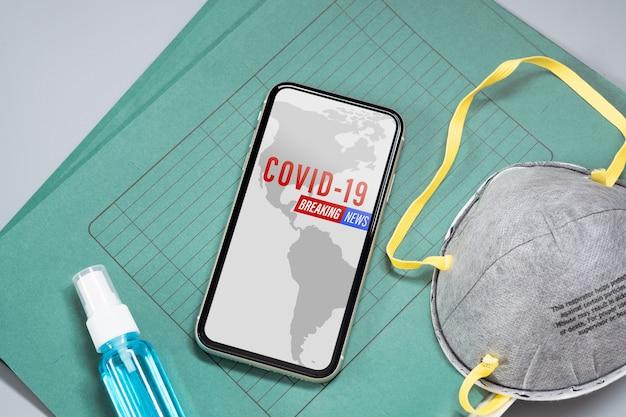 Mockup phone phone para coronavirus news