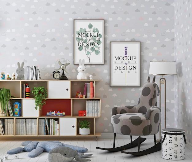 Mockup photo frame in cute nursery room