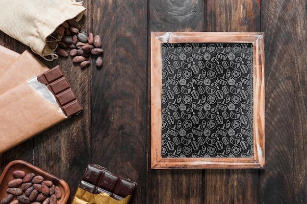 Mockup de pizarra con concepto de chocolate