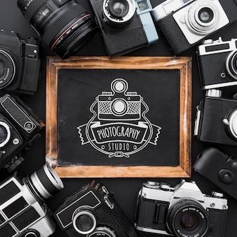 Mockup de pizarra con concepto de fotografía