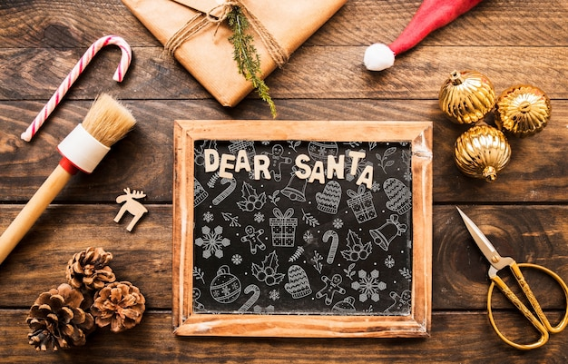 Mockup de pizarra con concepto de navidad