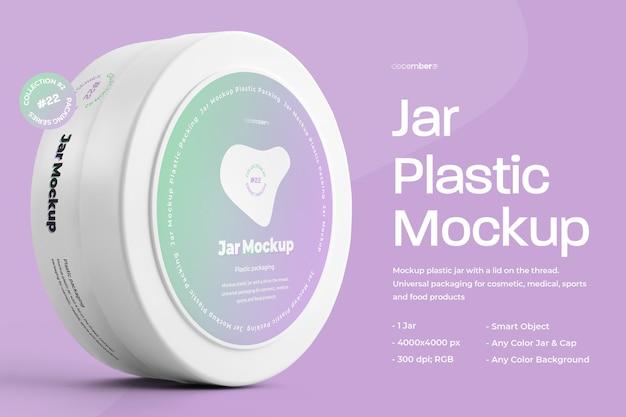 Mockup plastic cirkel jar design