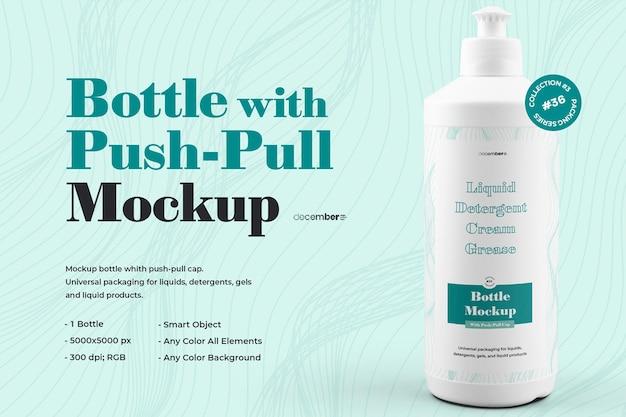 Mockup plastic fles met pushpull-dopontwerp