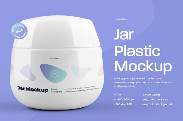 Mockup plastic pot voor het ontwerpen van cosmetische en medische producten