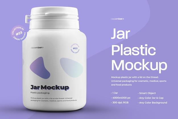 Mockup plastic pot voor pillen en capsules Premium Psd