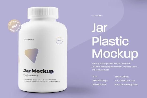 Mockup plastic pot voor pillen en capsules