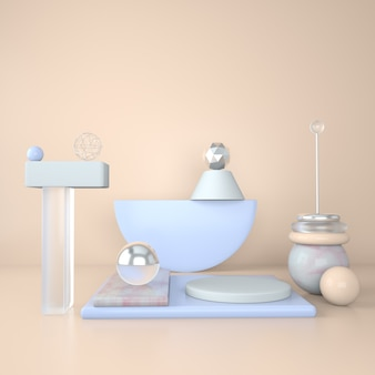 Mockup-podium voor branding lichte achtergrond en marmeren voetstuk met geometrische vormen Premium Psd