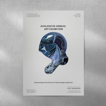 Mockup de póster de arte fluido psd en la pared arte experimental de bricolaje