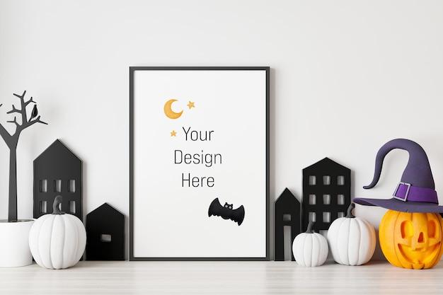 Mockup poster en fotolijst met halloween festivaldecoratie