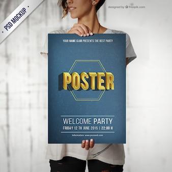 Mockup de póster de fiesta tipográfico