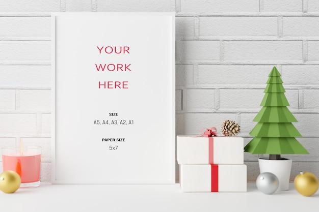 Mockup poster fotolijst met kerstdecoratie in 3d-rendering