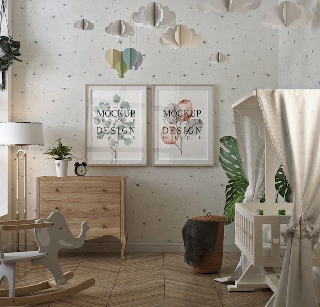 Mockup poster frame in classic baby's room
