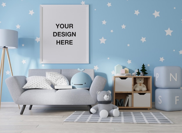 Mockup poster frame in kinderkamer weergave