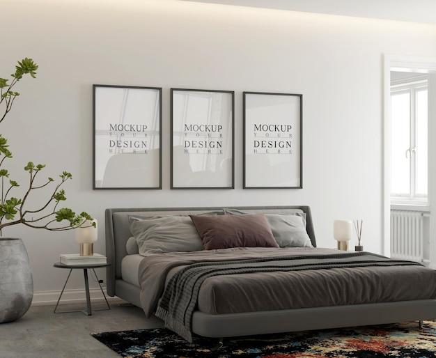 Mockup poster in moderne eigentijdse slaapkamer
