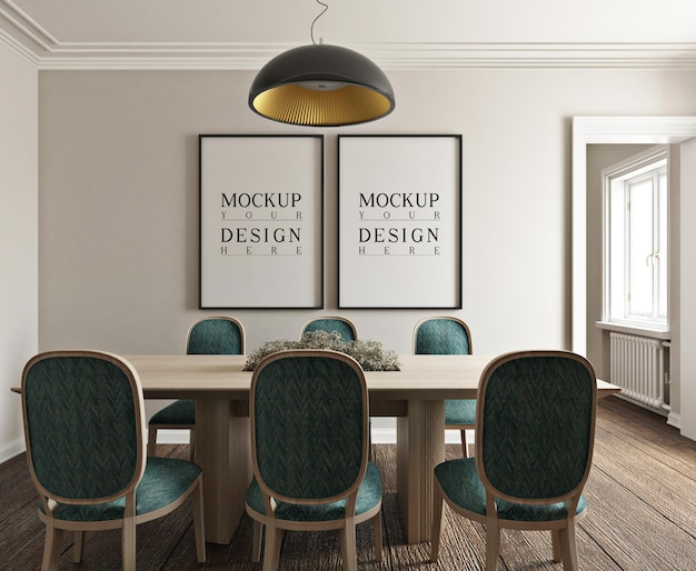 Mockup poster in moderne klassieke fotorealistische eetkamer