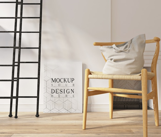 Mockup poster in moderne witte woonkamer met fauteuil