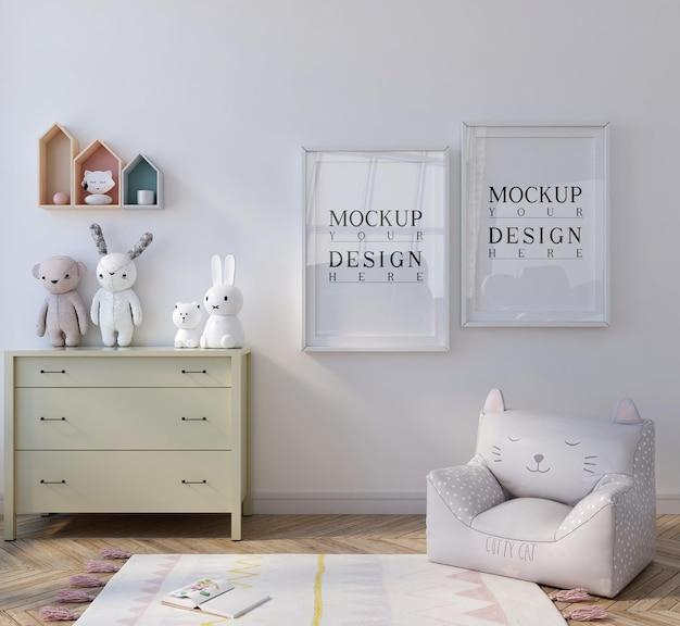 Mockup poster in schattige witte kinderkamer