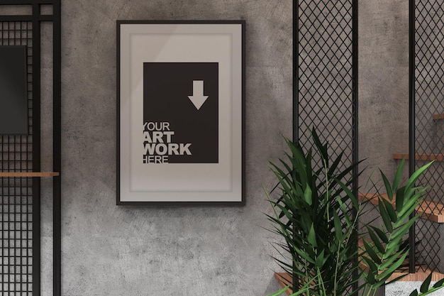 Mockup poster met tv-display in industrieel kamerinterieur met cementmuurtextuur en plant