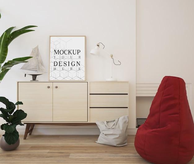 Mockup poster nel moderno salotto bianco con beanbag e credenza