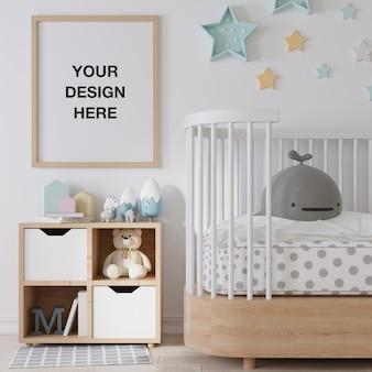 Mockup posterframe in de kinderkamer
