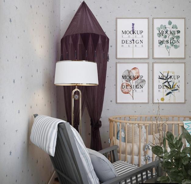 Mockup posterframe in de slaapkamer van de moderne baby