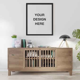 Mockup posterframe in de woonkamer