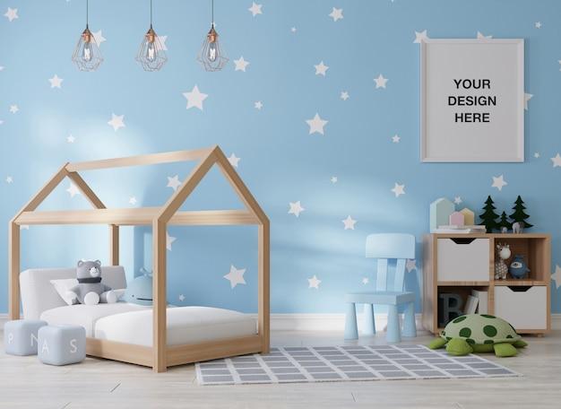 Mockup posterframe in kinderkamer 3d-rendering