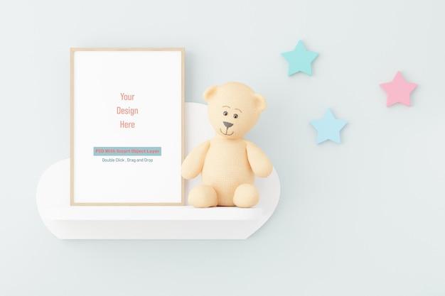 Mockup posterframe in kinderkamer mockup in 3d-rendering Premium Psd