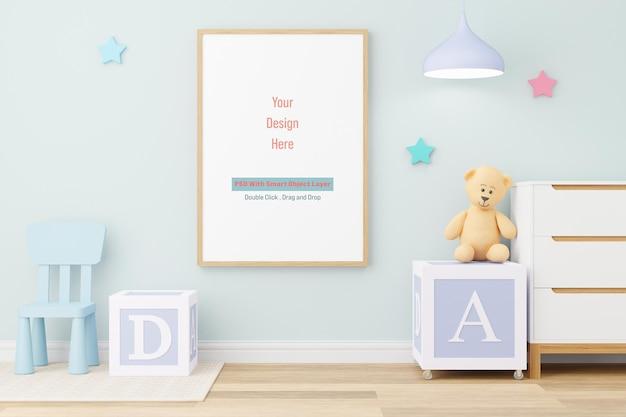 Mockup posterframe in kinderkamer mockup in 3d-rendering