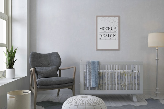 Mockup posterframe in moderne zwart-wit babykamer