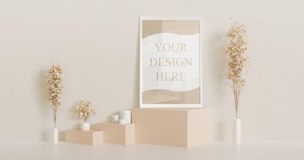 Mockup premium cornice bianca in piedi sulla scrivania in legno