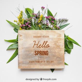 Mockup de primavera con tabla de madera