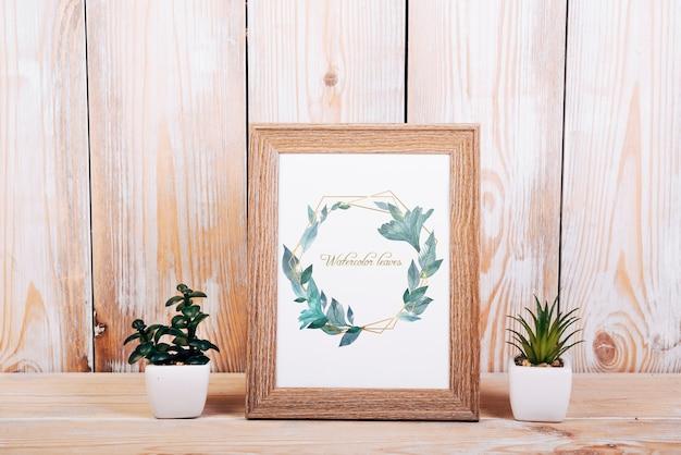 Mockup primaveral con marco de madera