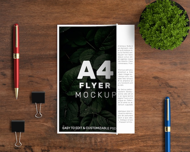 Mockup professionale a4 flyer
