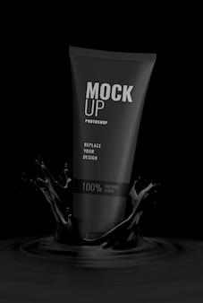 Mockup pubblicitario di tubo di lusso nero