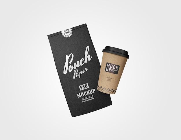 Mockup pubblicitario per marsupio e set da caffè