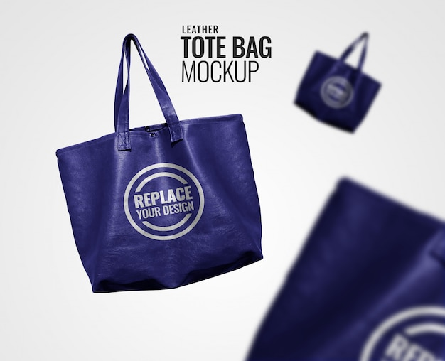 Mockup pubblicitario tote bag blu realistico