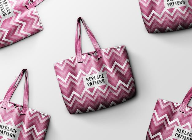 Mockup pubblicitario tote bag rosa