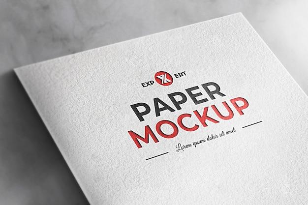 Mockup realistico sfondo bianco trama della carta