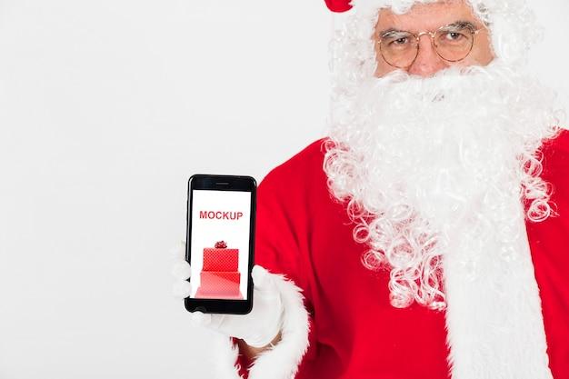 Mockup de rebajas de navidad con santa