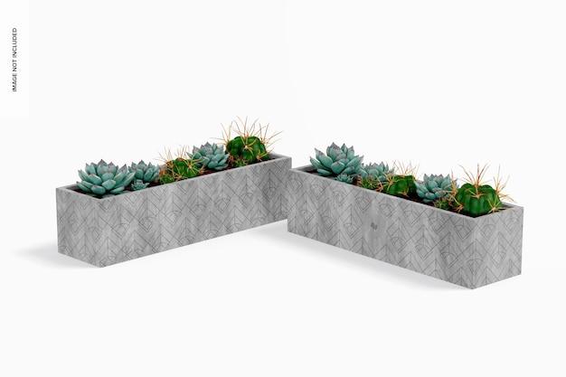 Mockup rechthoekige tafel cement plantenbakken
