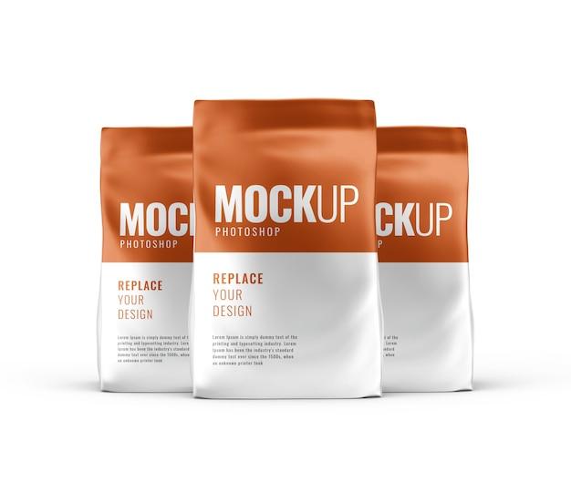 Mockup-reclame voor koffiesachetzakje