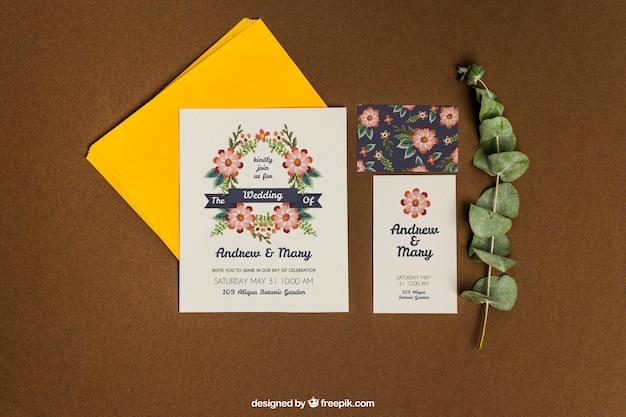 Mockup romántico de papelería para boda