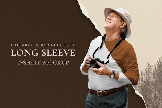Mockup de ropa del abuelo psd fondo de naturaleza marrón