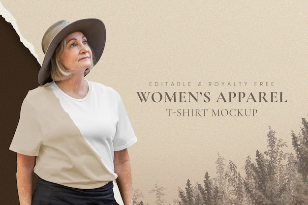 Mockup de ropa de mujer psd fondo de naturaleza marrón