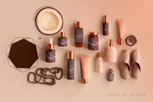 Mockup-scène voor cosmetische flessen