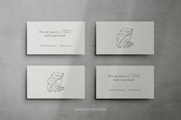 Mockup-scène voor visitekaartjes van 3,5 x 2 inch
