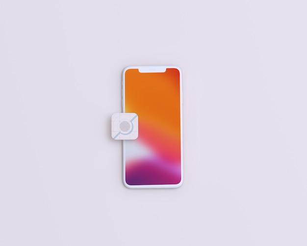 Mockup schermo mobile con icona app